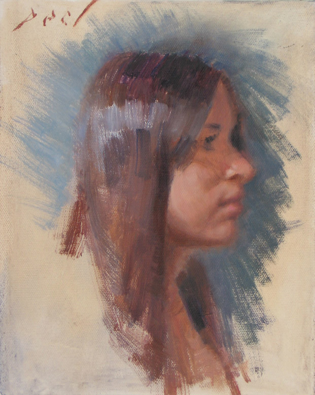 young girl profile painting