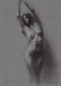 charcoal on paper, sold